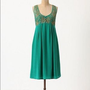 Anthropologie Lil Flickering Slip Dress Green 2